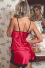Conjunto de pijama de satén de encaje rojo de talla grande