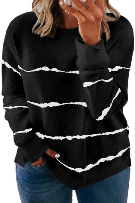 Sudadera negra de rayas con efecto tie-dye y talla grande