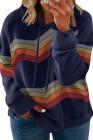 Sudadera con capucha de talla grande con cordón de rayas azules