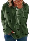 Sudadera con capucha de talla grande con cordón y estampado de estrellas verdes