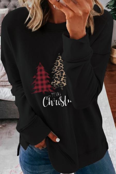 ليوبارد الربط منقوشة شجرة عيد الميلاد طباعة قميص من النوع الثقيل الأسود
