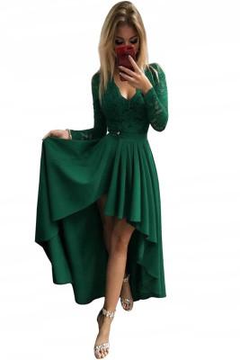 فستان سهرة أخضر برقبة على شكل V وأكمام طويلة دانتيل بدون ظهر بحافة عالية ومنخفضة