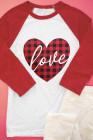 Buffalo Plaid Love Heart Colorblock Raglán Manga 3/4