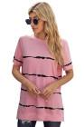 Camiseta casual de rayas con efecto tie-dye rosa