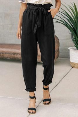 Черный бумажный мешок повседневные брюки с эластичным поясом