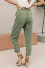حقيبة ورقية خضراء حزام مطاطي سروال كاجوال