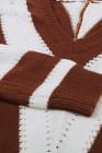 Braun gestreifter Colorblock V-Ausschnitt-Strickpullover