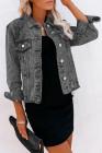 جاكيت جينز رمادي بفتحة أزرار ياقة مطوية