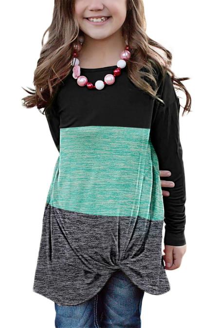 توب بناتي صغير أخضر بأكمام طويلة بعقدة ملتوية