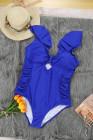 Traje de baño de una pieza azul con hombros descubiertos y talla grande