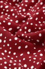 بلوزة بأكمام طويلة مكشكشة منقط باللون الأحمر