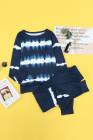 Set da salotto con top e pantaloni a righe blu navy tie-dye