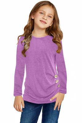 Haut boutonné à manches longues violet sur le côté Little Girls