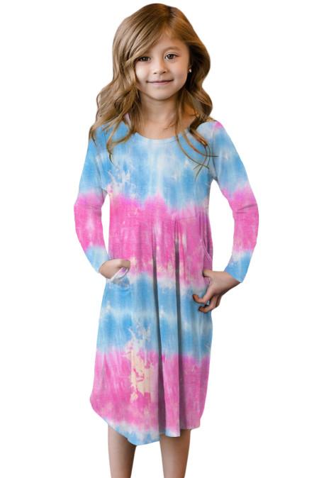 فستان أطفال وردي مع جيوب مخفية