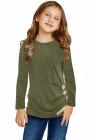 توب بناتي أخضر بأكمام طويلة بأزرار جانبية