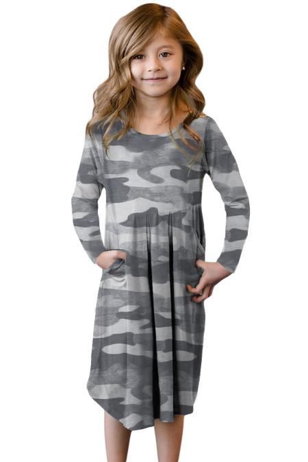 فستان أطفال رمادي كامو سوينغ بجيوب مخفية
