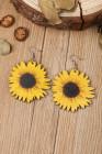 Slunečnice dřevěné náušnice