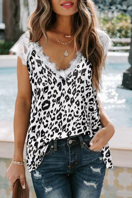 Camiseta sin mangas de leopardo con cuello en V y pestañas blancas