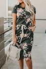 Vestido floral informal con cordón y bolsillos de manga corta