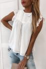 Camiseta sin mangas con volantes de encaje a lunares blanca