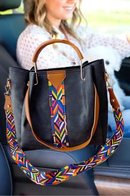 حقيبة كروس متعددة الاستعمالات مطبوعة ملونة سوداء