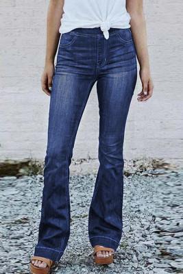 Jeans acampanados de cintura elástica de tiro alto azul