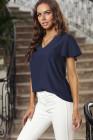 Camiseta de manga corta con cuello en V azul