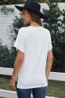 Camiseta de manga corta blanca con bolsillo de lentejuelas