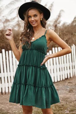 فستان قصير مكشكش بأشرطة سباغيتي أخضر