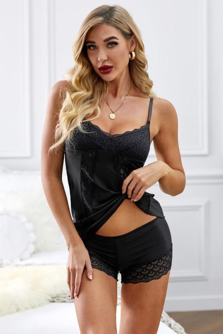 مجموعة ملابس النوم الدانتيل الأسود الحلو