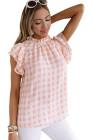 Camiseta rosa de manga corta con volantes a cuadros