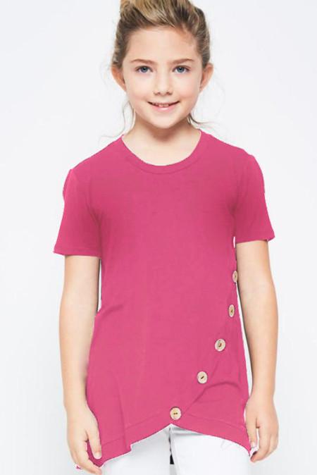 تي شيرت بناتي بحواف مقوسة وردية اللون