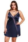 Vestido babydoll Valentine azul marino con ribete de encaje y talla grande