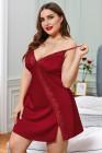 Vestido babydoll rojo de San Valentín con ribete de encaje y talla grande