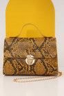 حقيبة يد كيلي بسلسلة كتف واحدة مطبوعة جلد ثعبان أصفر