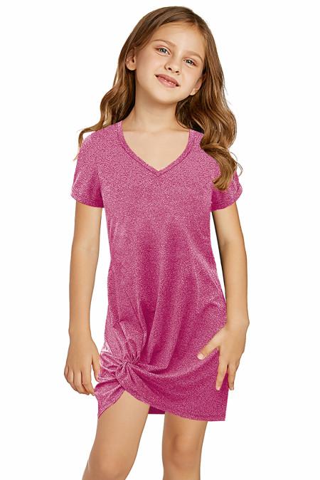 فستان زهري قصير للفتيات الصغيرات برقبة على شكل V مع حاشية ملتوية