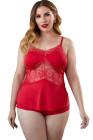 Conjunto de pijama de talla grande con encaje y tirantes finos rojos