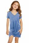 فستان أزرق قصير للفتيات الصغيرات برقبة على شكل V مع حاشية ملتوية