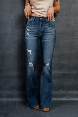 بنطال جينز غامق بخصر مرتفع متوسط الارتفاع