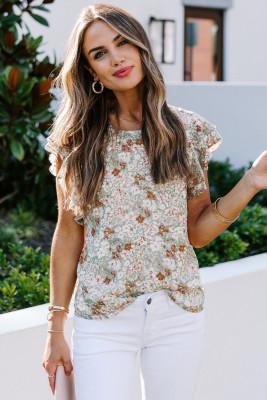 Camiseta de manga corta con volante floral verde
