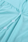 Camiseta de manga corta en mezcla de algodón con detalle de botones azul cielo