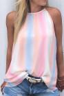 Rainbow Tie Dye Halter camiseta sin mangas suelta