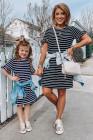 فستان قصير من تي شيرت أسود مخطط بأكمام مكشكشة