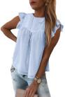 Camiseta sin mangas con volantes de encaje a lunares azul cielo