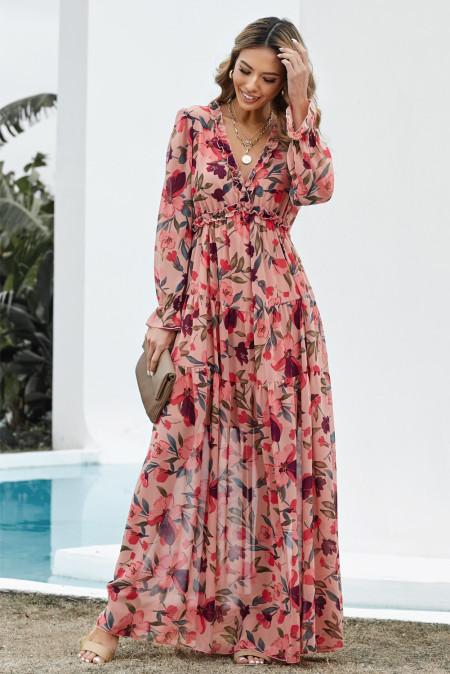 Многослойное платье макси Wild Lotus с оборками