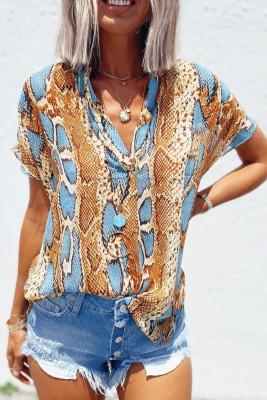 Blusa holgada con estampado de piel de serpiente
