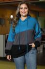 Sudadera con capucha azul Lucky Break Color Block Plus Size