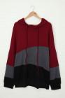 Sudadera con capucha roja Lucky Break Color Block Plus Size