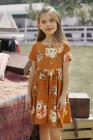 فستان زهري بأكمام قصيرة باللون البرتقالي للأطفال