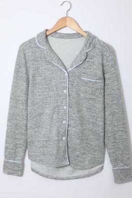 Vêtement d'intérieur gris à manches longues avec cordon de serrage